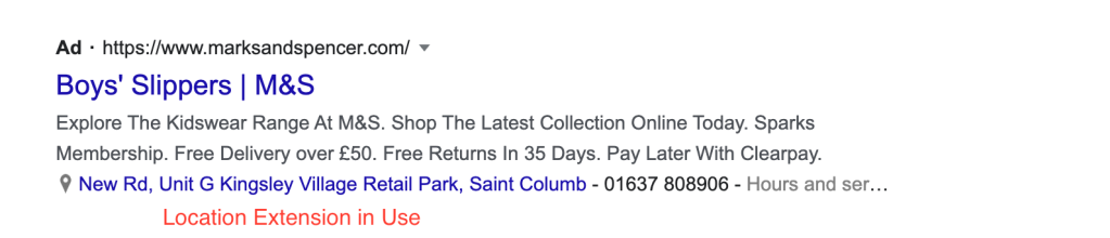 Example of a local store utilising the location extension on Google Adwords.